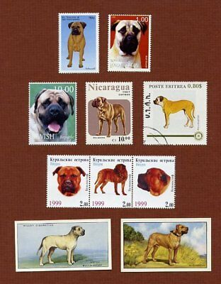 Bullmastiff dog stamps and cards set of 8