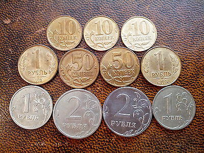 Russia: 10,50 Kopeek & 1,2 Roubles x 11 Coins