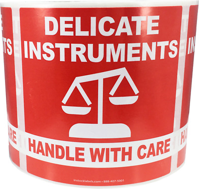 Delicate Instruments Handle With Care Labels 4 x 4 Inch 500 Total Stickers