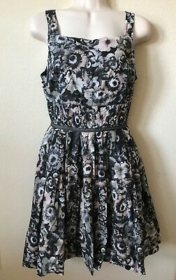 Willow & Clay Black Floral Pin Tuck Pleated Square Neck Women's Dress Size S