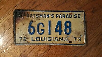 Louisiana license plate Sportsman's Paradise 6G148 used Fast shipping 1972-73