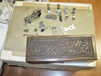 Antique Wheeler And Wilson Sewing Machine Accessory Box With Accessories