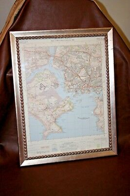 "Vintage 1960 27"" Framed Ordinance Survey Map - Plymouth Sound - English Channel"