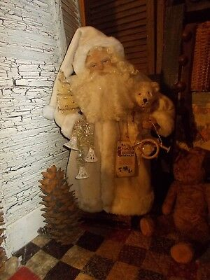 santa claus primitive antique christmas decorationsvintage fur coat handmade
