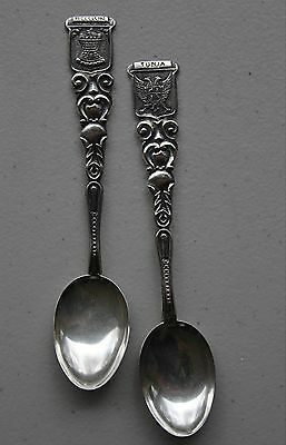 2 small souvenir spoons from Medellin and Tunja, Colombia, marked 900 silver