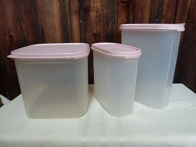 3 Vintage Tupperware Modular Mates Containers 1613 1614 1621 Pink Lid