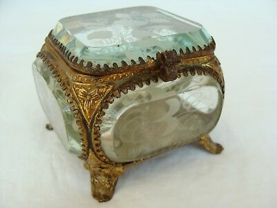 Antique Victorian Ormolu Etched Morning Glory Beveled Crystal Glass Jewelry Box