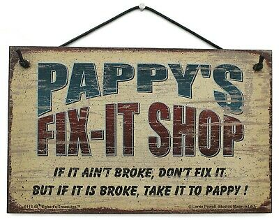 Pappy's Fix-It Shop 8x10 Sign Grandpa Grandfather Garage Mechanic Repair vtg Dad Home Decor