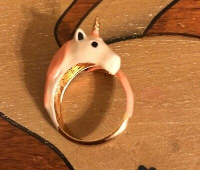 Unicorn Ring Ceramic Pink And White ceramic design With gold plated Unicorn horn