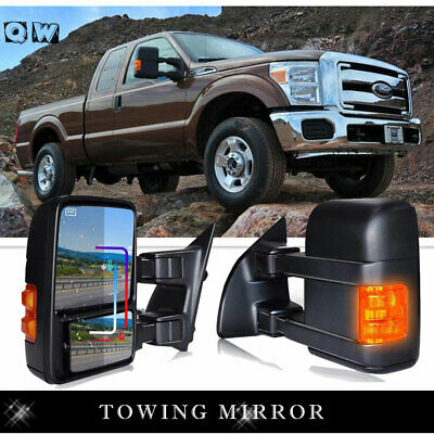 2001-2007 Ford F250/F350/F450/F550 Telescope Extendable Side Power Mirrors Black