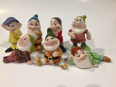 Vintage WDP Disney Japan Snow White 7 Dwarfs Lot Ceramic Porcelain Figurine