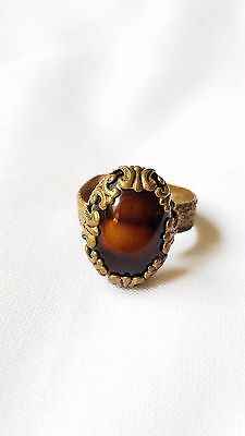 Vintage W. Germany TIGERS EYE STONE adjustable RING,ornate metal (brass?)setting