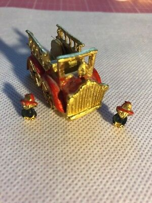 Painted Pewter Fire Truck Thimble With Miniature Firemen