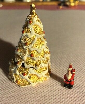 Painted Pewter SDH Christmas Tree With Miniature Santa Claus