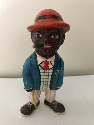 "BLACK AMERICANA CAST IRON STILL BANK -SMOKIN' JOE CIGAR MAN IN SUIT 5.25"" High"