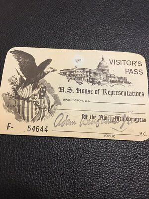 1977-1979 Visitor's Pass to the 95th US Congress - House of Representatives