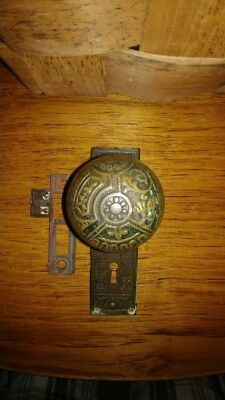 Vintage Brass Victorian Door Knob Back Plate and Latch Plate