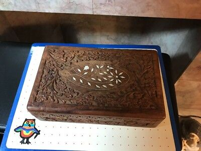 Vintage Pier 1 Hand Carved India Wooden Box -used-J-52