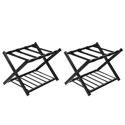 Set of 2 Folding Metal Luggage Rack Suitcase Shoe Holder Hotel Guestroom w/Shelf