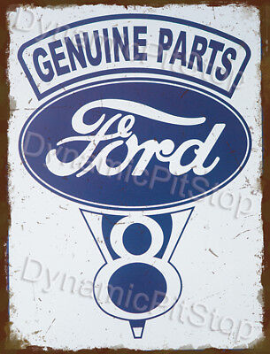 30x40cm Ford Genuine Parts Logo V8 Rustic Tin Sign or Decal
