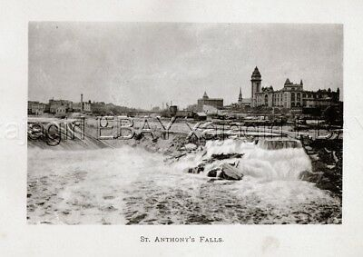 MINNESOTA Minneapolis St. Anthony's Fall, Rare Antique 1902 Photogravure Print