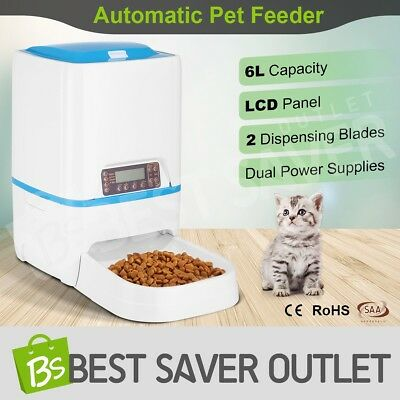 Automatic 6L Dog Feeder Timed Auto Pet Cat Food Dispenser w/ Voice Recorder LCD