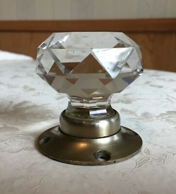 Vintage Door Knob Handle Cut Glass Crystal Architectural Antique Star Old Plate