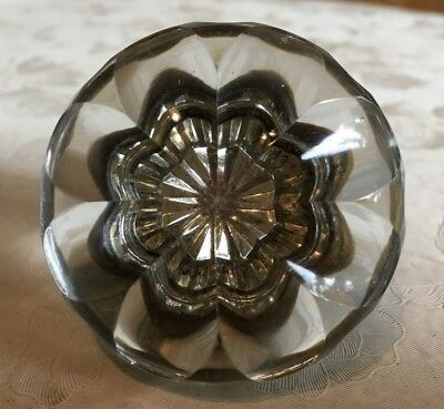 Vintage Flower Glass Door Knob with Brass Hardware Threaded Center 2""