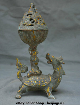 "9.2"" Antique Chinese Bronze Ware Gilt Dynasty Dragon Turtle Man Incense Burner"