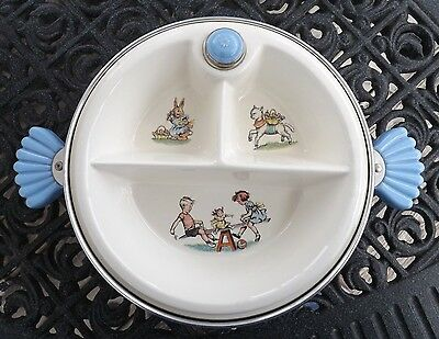 "Majestic Child's Divided Warming Dish. Made in USA 8"" Nice Condition"