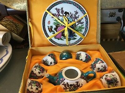 Choice of 2 Chinese souvenirs: miniature TEASET or salt pepper set Unwante gifts