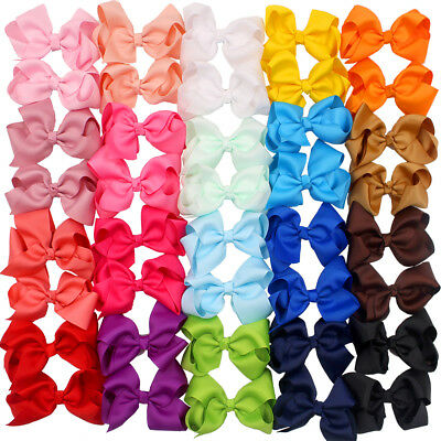 "40 Pcs in Pairs 4.5"" Boutique Hair Bows Alligator Clips For Girls Toddlers Kids"