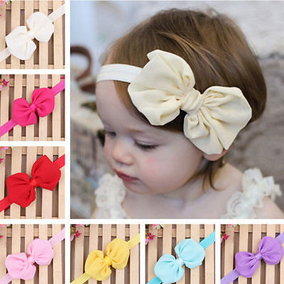 Cute Infant Baby Girls Chiffon Bowknot Headbands Stretch Hair Band Accessories