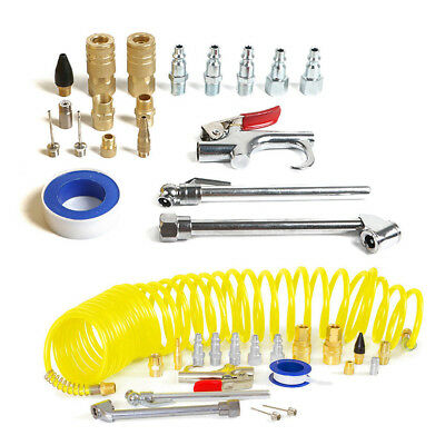 20pcs/Set Air Compressor Accessory Kit Tool 25 Ft Recoil Hose Gun Nozzles Set UK