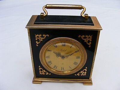 vintage superb IMHOF 8 days solid brass mantle clock-working order-keeping time
