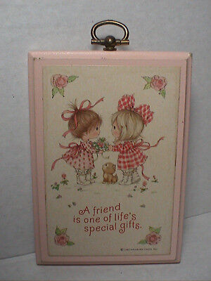 A Friend One of Life Special Gift Hallmark Ambassador Wooden Hanging Plaque 1982