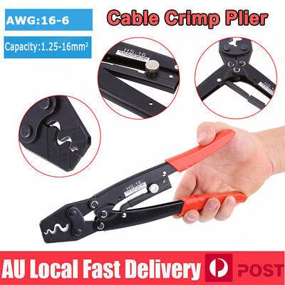 1.25-16mm² 16-6AWG Cable Crimper Wire Terminal Crimping Tool Ratchet Crimp Plier