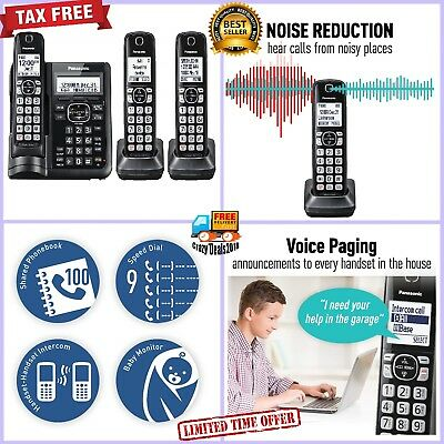 Panasonic KX-TGF543B Call Block Answering Machine System ID Waiting 3 Handsets