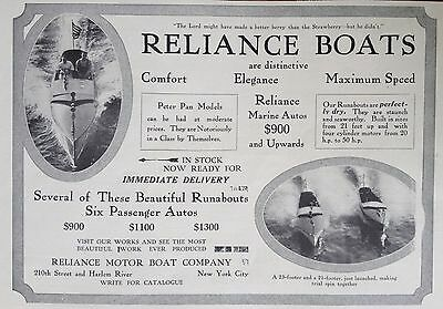 1912 Ad(F24)~Reliance Motor Boat Co. Nyc. Distinctive Runabout Boats