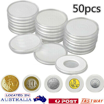 40X Coin Display Case Clear Round Plastic Storage Capsules Holder Box Eva Insert