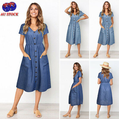 AU Summer Women V Neck Short Sleeve Dress Button Pocket Holiday Midi Denim Dress
