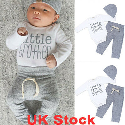 UK Newborn Baby Boys Brother Tops Romper Jumpsuit Pants Hat Outfits Clothes Set