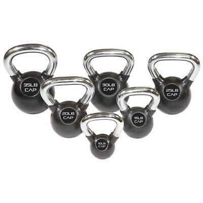 (6.8kg) - CAP Barbell Cap Rubber Coated Kettlebell with Chrome Handle