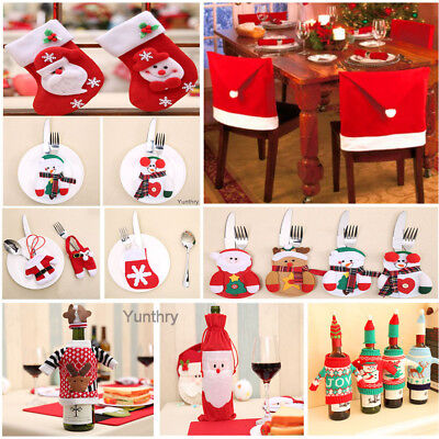 Christmas Santa Wine Bottle Cover Bag Tableware Sock Party Decoration Xmas Gifts