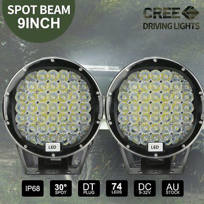 2x 9 inch LED SPOT Driving Lights Offroad 4X4 Round Spotlights Black AU