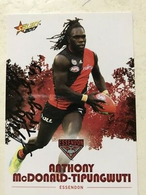 ANTHONY MCDONALD-TIPUNGWUTI  ESSENDON 2017 SELECT autographed card