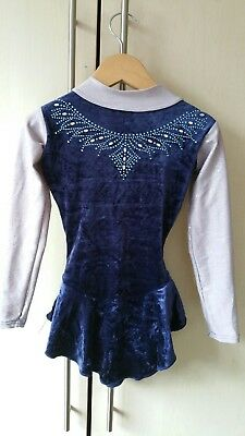 Blue and grey Ice Skating Practice Dress sparkles Age 3-4 4-5 Years