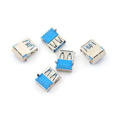 5Pcs USB 3.0 Type A Female Right Angle 9Pin DIP Socket PCB Solder Connector HJ