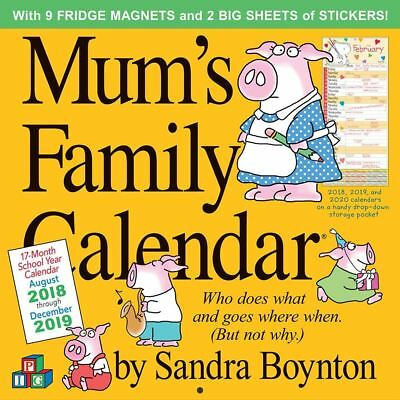 Mum's Family Calendar 2019 Sandra Boynton Wall Planner + Stickers & Magnets Mums