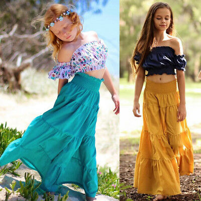 AU Baby Girl Long Maxi Pleated Skirt Pageant Princess Casual Party Pageant Dress